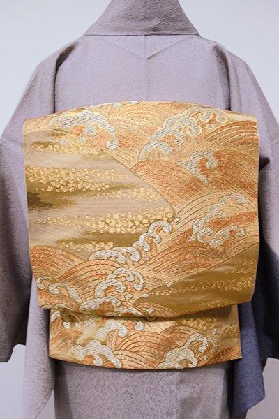WEB限定【L-3868】西陣 川島織物製 本袋帯 金色 波頭文(落款入り)
