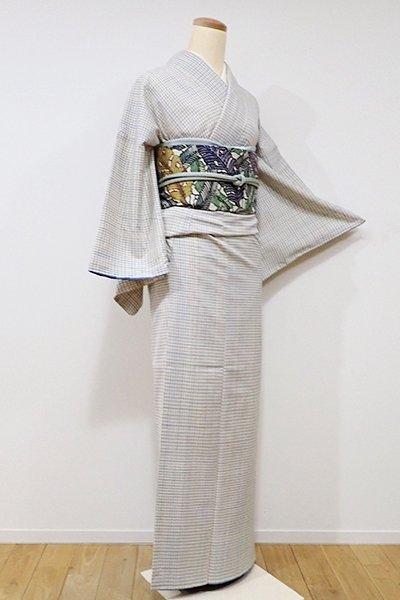 銀座【A-2538】長井紬 練色 多彩な小格子(しつけ付・反端付)