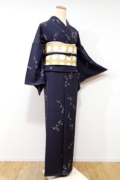 銀座【D-2003】←ユッタリ→小紋 藍墨茶色 萩の図