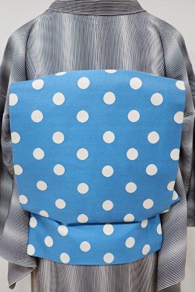 銀座【K-5415】織名古屋帯 薄藍色 水玉文