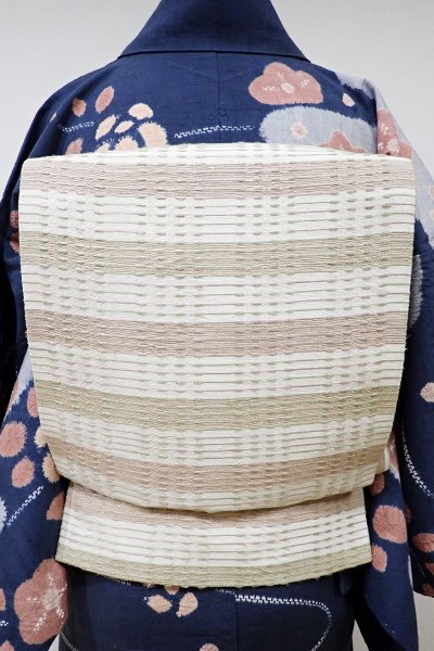 WEB限定【L-3870】紬地 洒落袋帯 練色系 横段