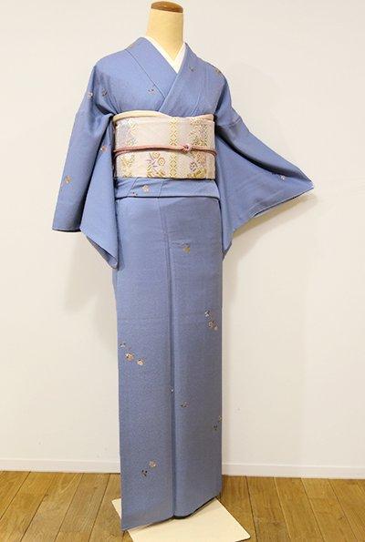 銀座【D-2005】→ホッソリ←総刺繍 小紋 薄花色 花や蝶など