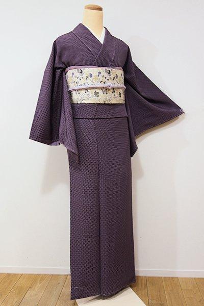 銀座【D-2006】小紋 似せ紫色 幾何文(しつけ付・落款入)