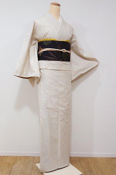 銀座【A-2541】結城紬 はたおり娘 練色 細縞(証紙付)