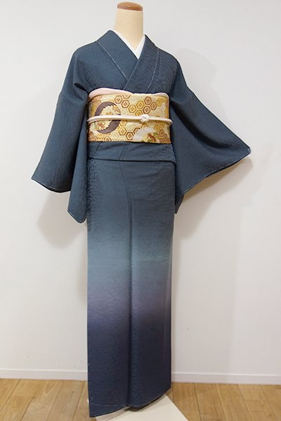 銀座【B-1942】付下げ 錆鼠色×濃藍色 裾暈かし(しつけ付・落款入り)