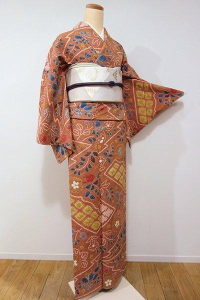 銀座【D-2008】紬地 絞り染め 小紋 江戸茶色 辻が花調文様(しつけ付)