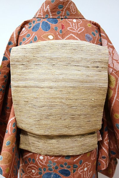 銀座【K-5431】野蚕糸紬地 織八寸名古屋帯 木蘭色 ナチュラルな横段(反端付・長尺)