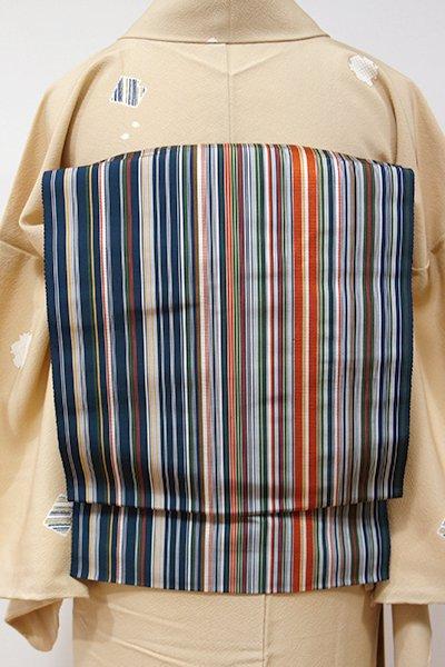 銀座【K-5435】博多織 開き八寸名古屋帯 留紺色 多彩な縞