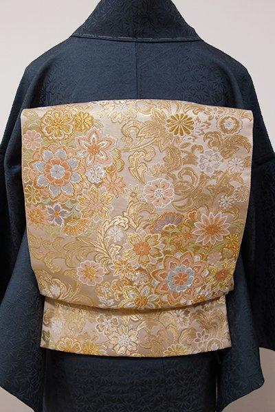銀座【L-3881】西陣 服部織物製 袋帯 薄卵色 華文(落款入り)