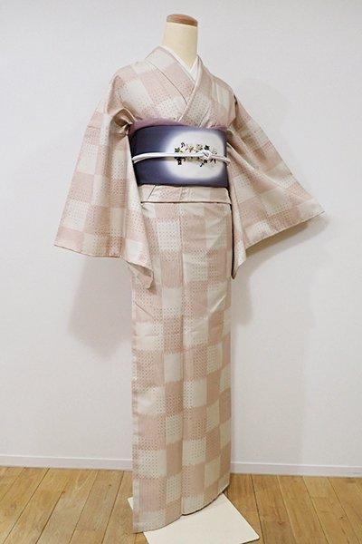 銀座【A-2543】白山紬 浅黄色×赤香色 市松絣(証紙付・しつけ付・未使用)