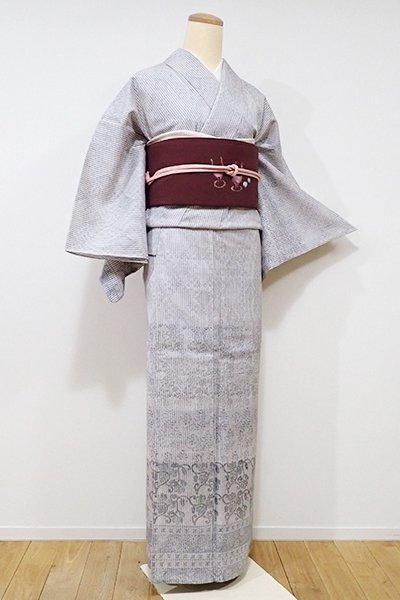 WEB限定【B-1944】←ユッタリ→単衣 紬御召地 付下げ 白鼠色 装飾文の横段