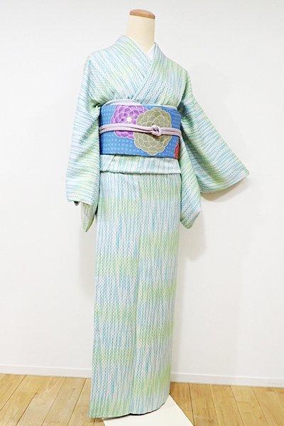 銀座【D-2011】↑Sサイズ↓小紋 白練色×鶸色×青竹色 変わり段に縞