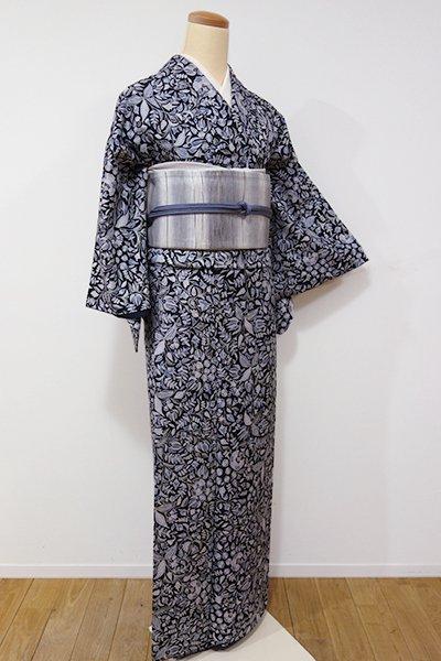 あおき【D-2013】(S・細め)小紋 黒色 更紗花文