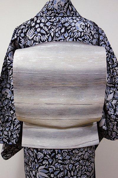 WEB限定【L-3895】洒落袋帯 絹鼠色 横段