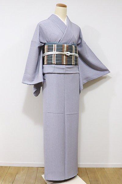 銀座【C-1435】江戸小紋 灰青色 よろけ縞に千鳥(しつけ付・新品)