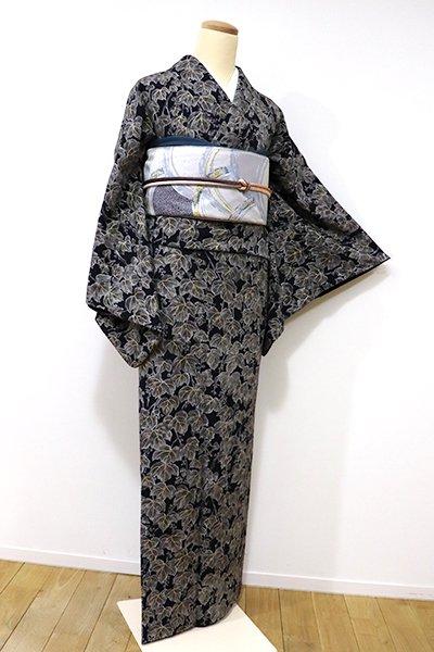 銀座【D-2014】縮緬地 付下げ小紋 黒色 蔦の図