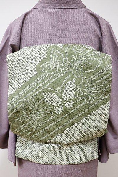 銀座【K-5460】絞り染め 名古屋帯 海松色 蝶々の図