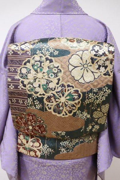 WEB限定【L-3910】総刺繍 全通 袋帯 虫襖色 雲に桜の図