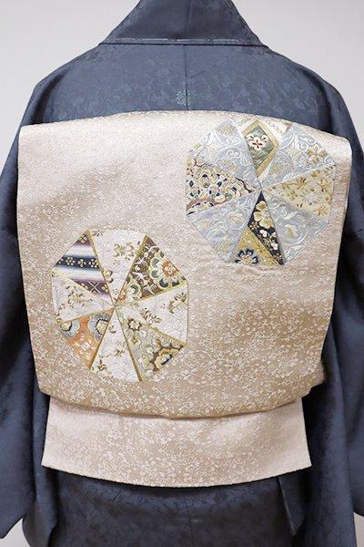 あおき【L-3912】刺繍 袋帯 薄卵色 幾何文
