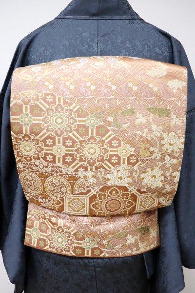 銀座【L-3913】西陣 陰山織物製 箔屋清兵衛 袋帯 小麦色 名物裂文(証紙付)