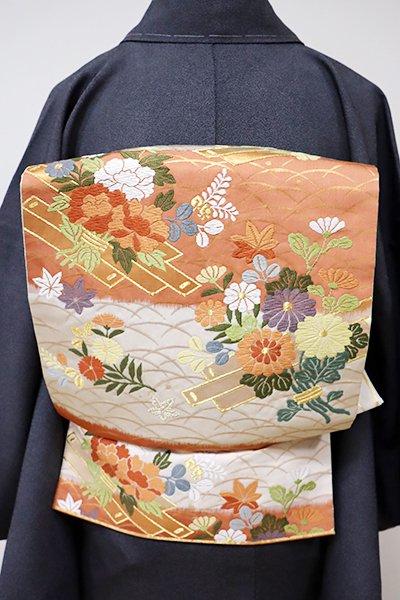 あおき【L-3918】袋帯 白練色×黄丹色 横段に花筏や桐の図