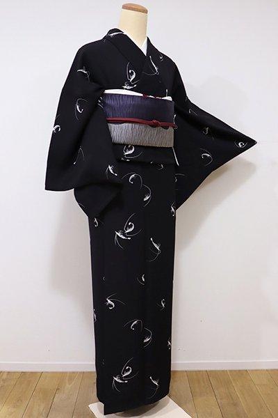 あおき【D-2019】小紋 黒色 海老の図