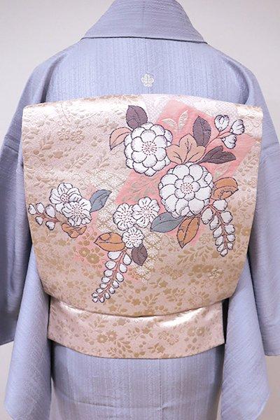 銀座【K-5471】織名古屋帯 薄桜色 色紙に辻が花文