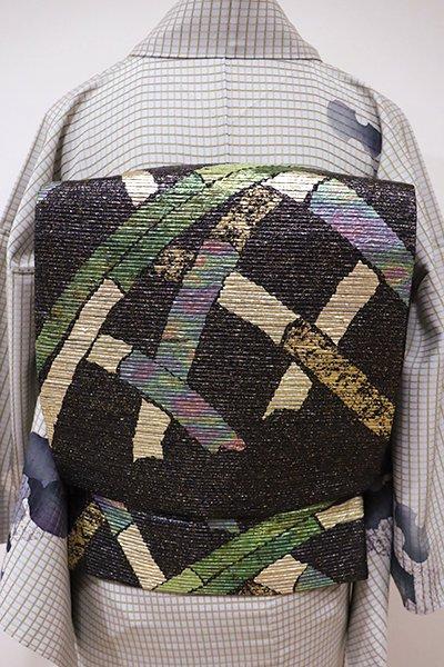 あおき【L-3922】袋帯 黒色 蛇籠の図