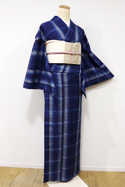 銀座【A-2553】紬 紺色 格子(しつけ付)