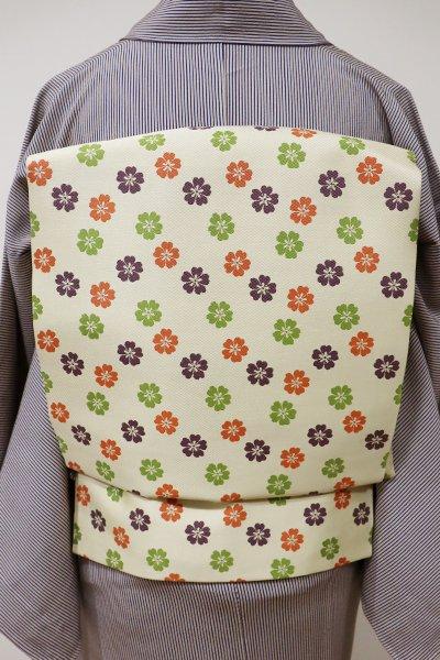 銀座【K-5474】織開き名古屋帯 蒸栗色 小桜文
