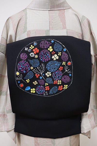 銀座【K-5476】塩瀬 染名古屋帯 黒色 花の図