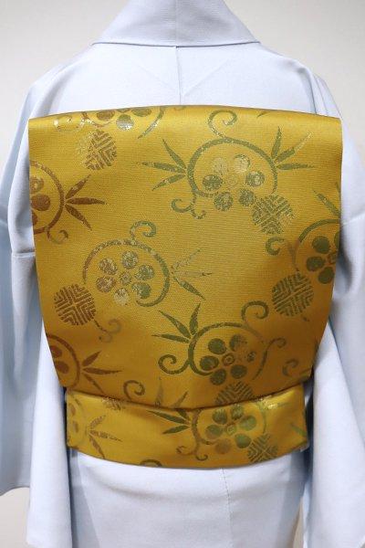 銀座【K-5481】織名古屋帯 櫨染色 笹蔓文
