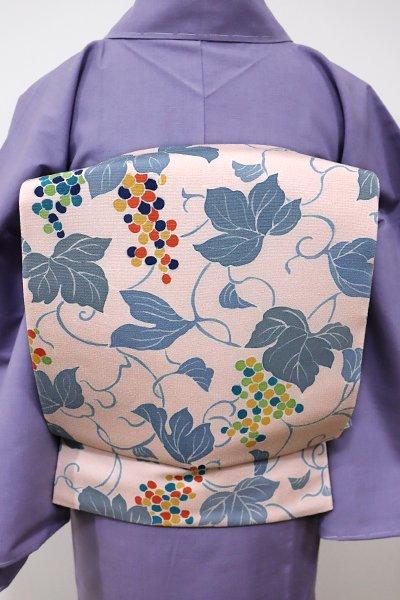 あおき【L-3939】染洒落袋帯 淡い一斤染色 葡萄の図