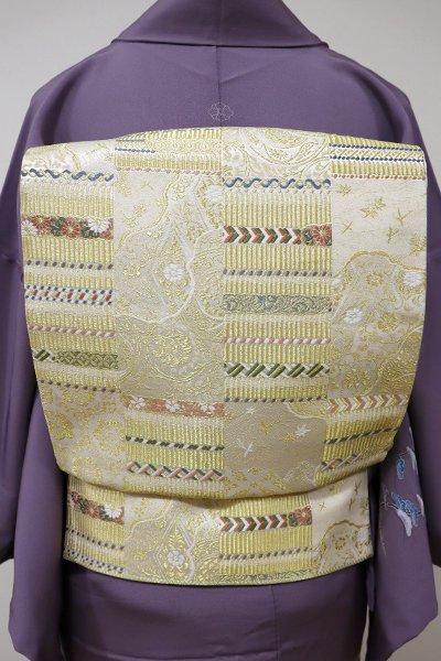 あおき【L-3940】袋帯 鳥の子色 縅の市松文