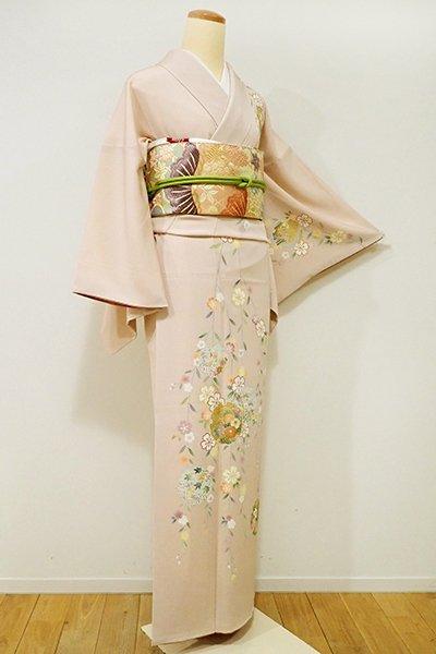 銀座【B-1961】←ユッタリ→縮緬地 訪問着 灰桜色 枝垂れ桜に雪輪の図(ゑり華扱い)