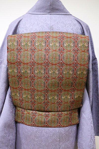 銀座【K-5489】龍村美術織物製 光波帯 煉瓦色 円文白虎朱雀錦
