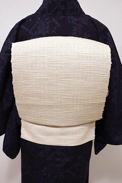 銀座【K-5494】紬地 織八寸名古屋帯 練色 無地