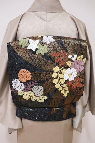あおき【L-3954】西陣製 袋帯 羊羹色 四季花の図(証紙付)