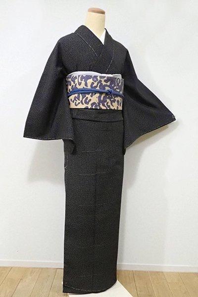 あおき【A-2560】←ユッタリ→本塩沢 黒色 幾何文(証紙付・しつけ付)
