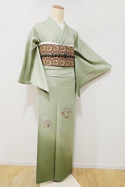 銀座【B-1965】↑Sサイズ↓→ホッソリ←スワトウ刺繍 付下げ 淡い柳色 松皮菱に花