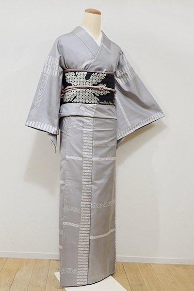 銀座【D-2025】牛首紬地 小紋 薄鈍色 装飾文の横段
