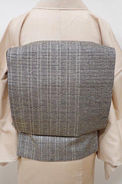 あおき【L-3956】紬地 織洒落袋帯 灰色 竪縞