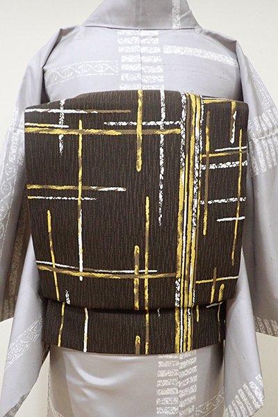 あおき【L-3960】洒落袋帯 鉄黒色×黄朽葉色 破れ格子