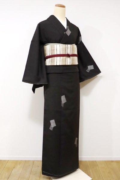 世田谷【A-2561】→ホッソリ←紬 黒橡色 色紙重ね文