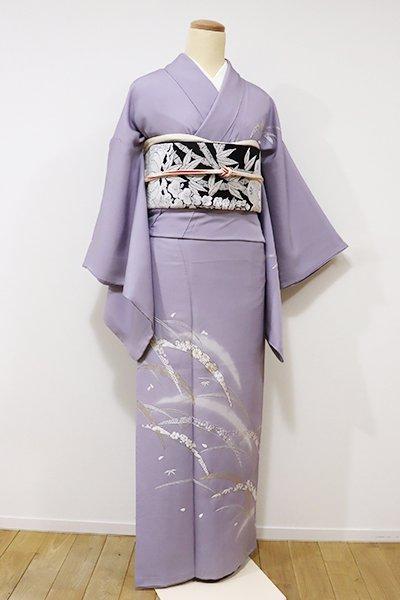 銀座【B-1967】←ユッタリ→総刺繍 付下げ 藤色 雪輪芝の図