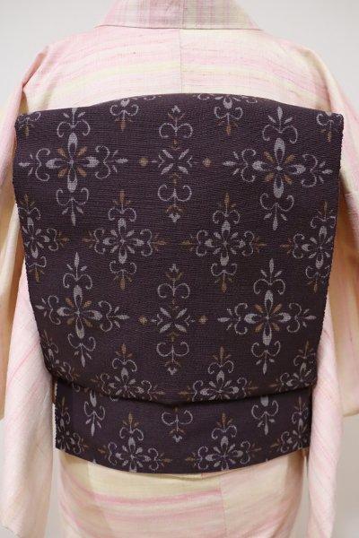 銀座【K-5497】結城紬 はたおり娘 織開き八寸名古屋帯 濃色 装飾文(証紙付)