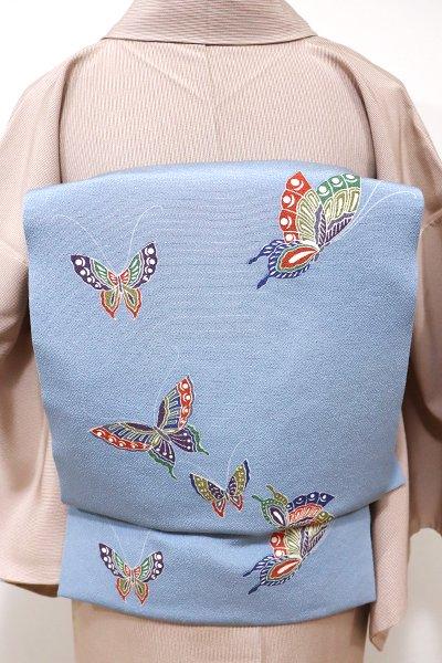 WEB限定【K-5498】縮緬地 染名古屋帯 秘色色 蝶々の図