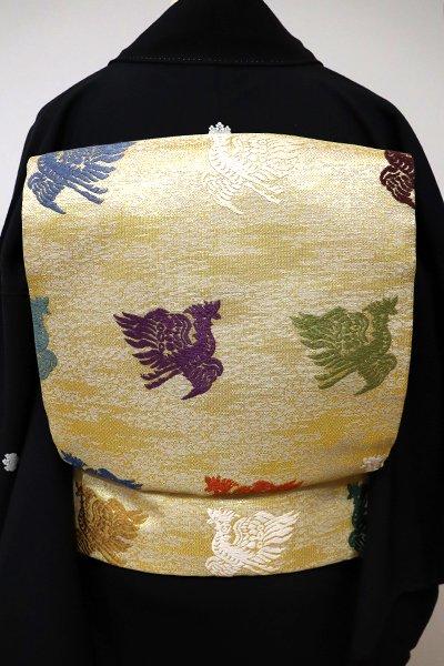 あおき【L-3963】袋帯 金色 鳳凰の図