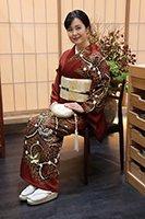 【着物2275】久呂田明功作 縮緬地訪問着 葡萄茶色 蝶の図 (落款入)