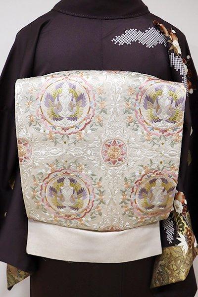 あおき【L-3970】総刺繍 袋帯 薄卵色 丸に双鳥紋